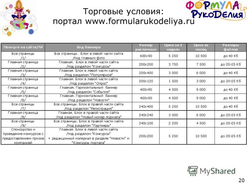 20 Торговые условия: портал www.formularukodeliya.ru