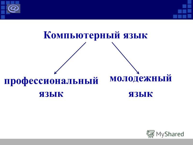 Компьютерный язык профессиональный язык молодежный язык