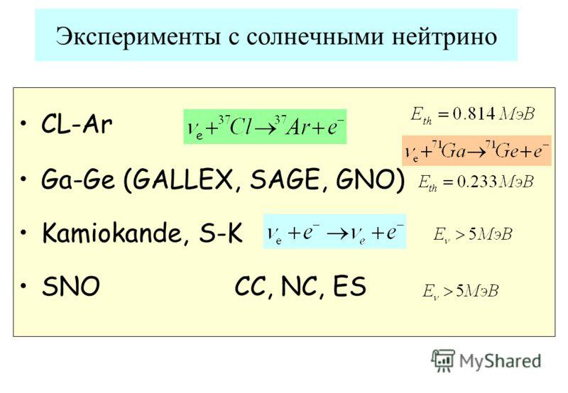 CL-Ar Ga-Ge (GALLEX, SAGE, GNO) Kamiokande, S-K SNO CC, NC, ES Эксперименты с солнечными нейтрино