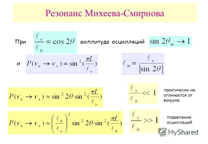 Резонанс Михеева-Смирнова Приамплитуда осцилляций и подавление осцилляций практически не отличается от вакуума
