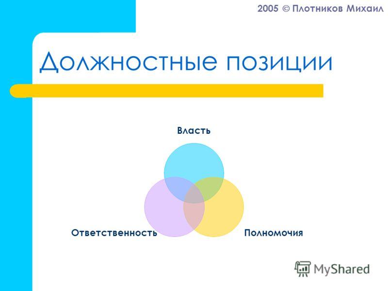 2005 Плотников Михаил Должностные позиции Власть ПолномочияОтветственность