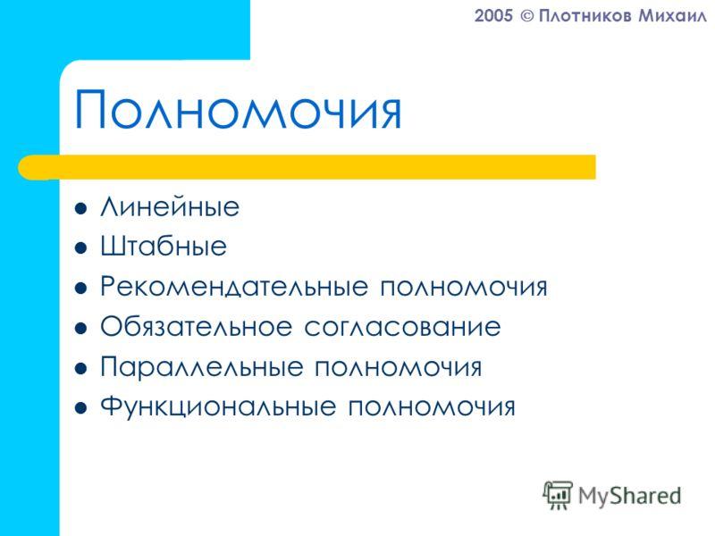 2005 Плотников Михаил Полномочия Линейные Штабные Рекомендательные полномочия Обязательное согласование Параллельные полномочия Функциональные полномочия
