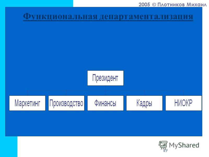 2005 Плотников Михаил 49 Функциональная департаментализация