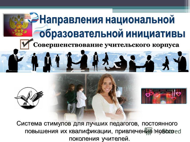 Направления национальной образовательной инициативы Система стимулов для лучших педагогов, постоянного повышения их квалификации, привлечение нового поколения учителей. Совершенствование учительского корпуса