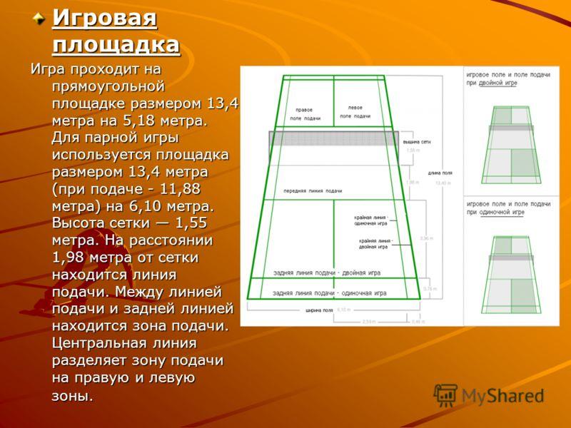 Игровая площадка Игра проходит на прямоугольной площадке размером 13,4 метра на 5,18 метра. Для парной игры используется площадка размером 13,4 метра (при подаче - 11,88 метра) на 6,10 метра. Высота сетки 1,55 метра. На расстоянии 1,98 метра от сетки