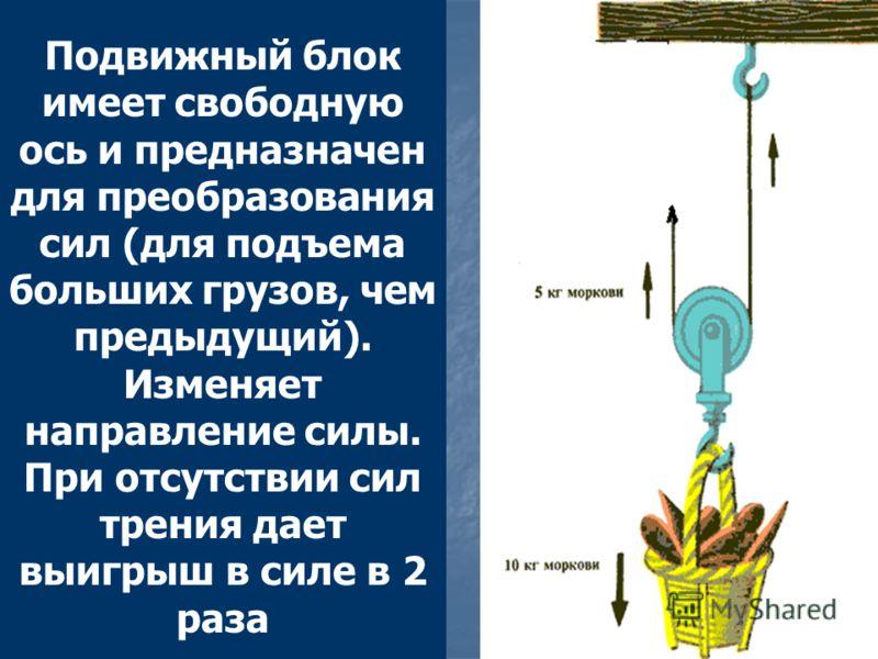Подвижный блок имеет свободную ось и предназначен для преобразования сил (для подъема больших грузов, чем предыдущий). Изменяет направление силы. При отсутствии сил трения дает выигрыш в силе в 2 раза