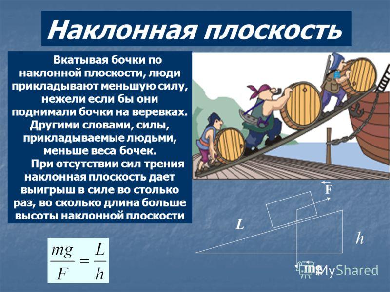 Вкатывая бочки по наклонной плоскости, люди прикладывают меньшую силу, нежели если бы они поднимали бочки на веревках. Другими словами, силы, прикладываемые людьми, меньше веса бочек. При отсутствии сил трения наклонная плоскость дает выигрыш в силе