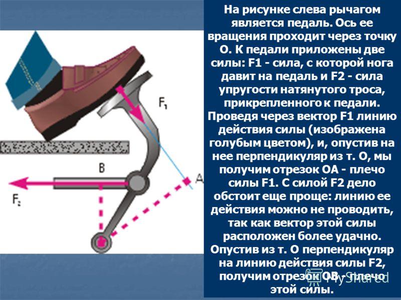 На рисунке слева рычагом является педаль. Ось ее вращения проходит через точку О. К педали приложены две силы: F1 - сила, с которой нога давит на педаль и F2 - сила упругости натянутого троса, прикрепленного к педали. Проведя через вектор F1 линию де