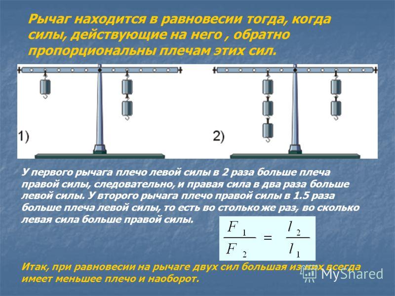 Рычаг находится в равновесии тогда, когда силы, действующие на него, обратно пропорциональны плечам этих сил. У первого рычага плечо левой силы в 2 раза больше плеча правой силы, следовательно, и правая сила в два раза больше левой силы. У второго ры