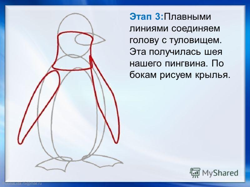 FokinaLida.75@mail.ru Этап 3:Плавными линиями соединяем голову с туловищем. Эта получилась шея нашего пингвина. По бокам рисуем крылья.