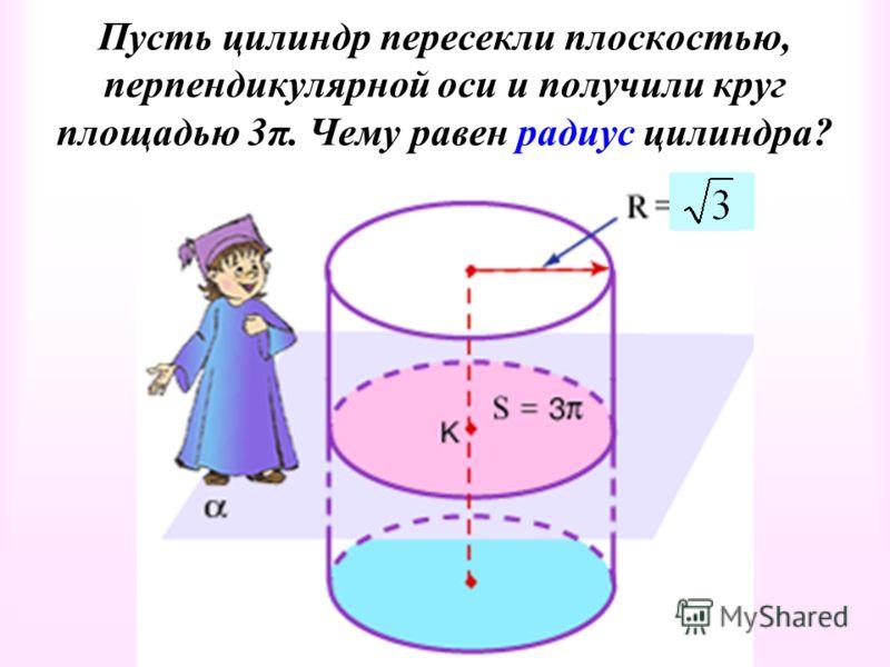 Пусть цилиндр пересекли плоскостью, перпендикулярной оси и получили круг площадью 3π. Чему равен радиус цилиндра?