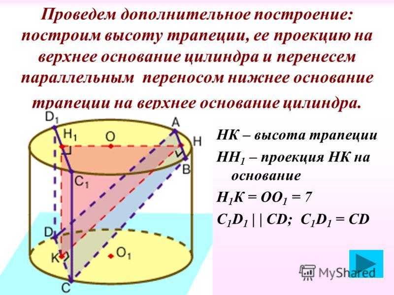 Проведем дополнительное построение: построим высоту трапеции, ее проекцию на верхнее основание цилиндра и перенесем параллельным переносом нижнее основание трапеции на верхнее основание цилиндра. НК – высота трапеции НН 1 – проекция НК на основание Н