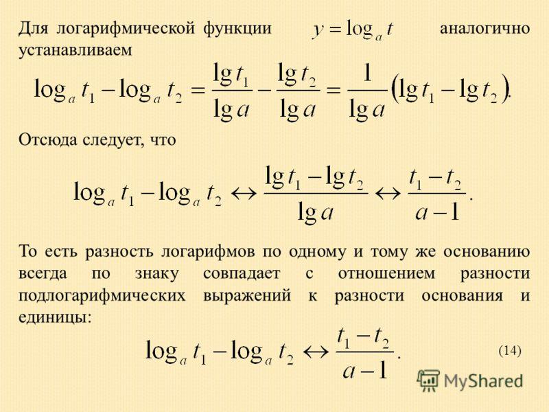 Для логарифмической функции аналогично устанавливаем Отсюда следует, что То есть разность логарифмов по одному и тому же основанию всегда по знаку совпадает с отношением разности подлогарифмических выражений к разности основания и единицы: (14)