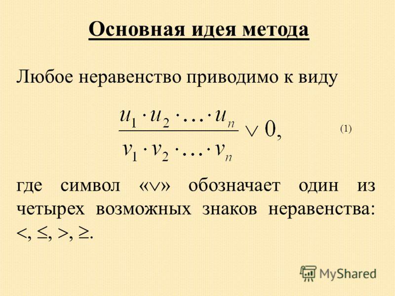 Основная идея метода Любое неравенство приводимо к виду где символ « » обозначает один из четырех возможных знаков неравенства:,,,. (1)