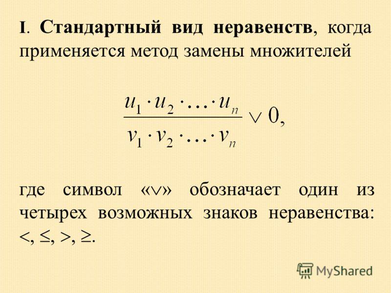 I. Стандартный вид неравенств, когда применяется метод замены множителей где символ « » обозначает один из четырех возможных знаков неравенства:,,,.