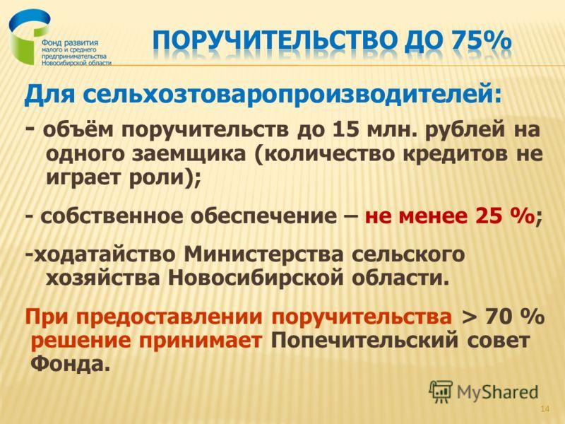 Для сельхозтоваропроизводителей: - объём поручительств до 15 млн. рублей на одного заемщика (количество кредитов не играет роли); - собственное обеспечение – не менее 25 %; -ходатайство Министерства сельского хозяйства Новосибирской области. При пред