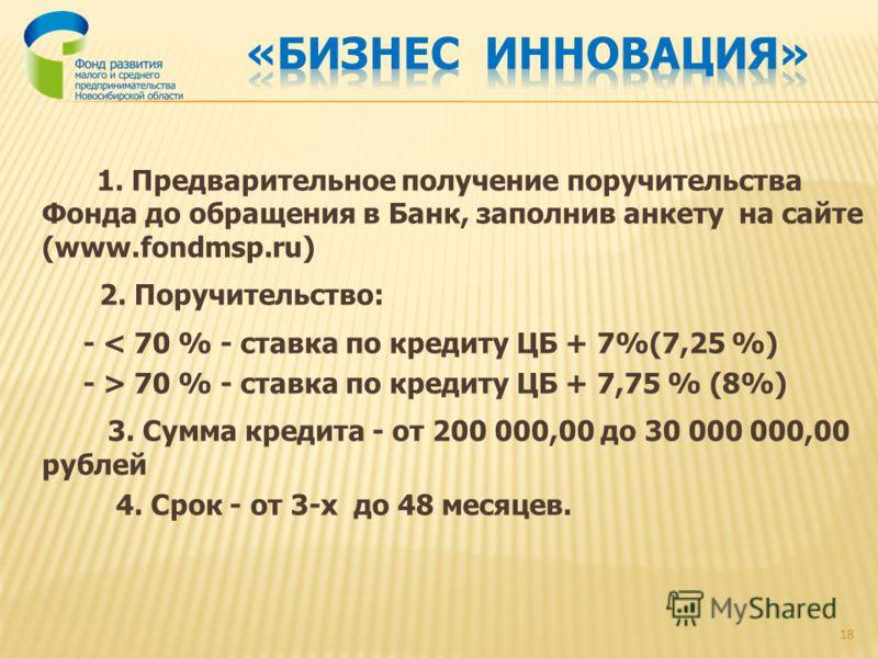 1. Предварительное получение поручительства Фонда до обращения в Банк, заполнив анкету на сайте (www.fondmsp.ru) 2. Поручительство: - < 70 % - ставка по кредиту ЦБ + 7%(7,25 %) - > 70 % - ставка по кредиту ЦБ + 7,75 % (8%) 3. Сумма кредита - от 200 0