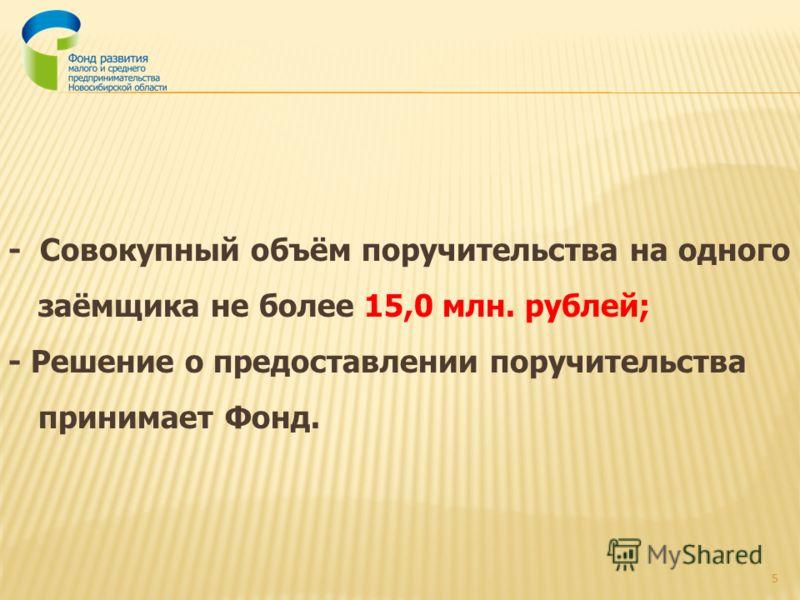 - Совокупный объём поручительства на одного заёмщика не более 15,0 млн. рублей; - Решение о предоставлении поручительства принимает Фонд. 5