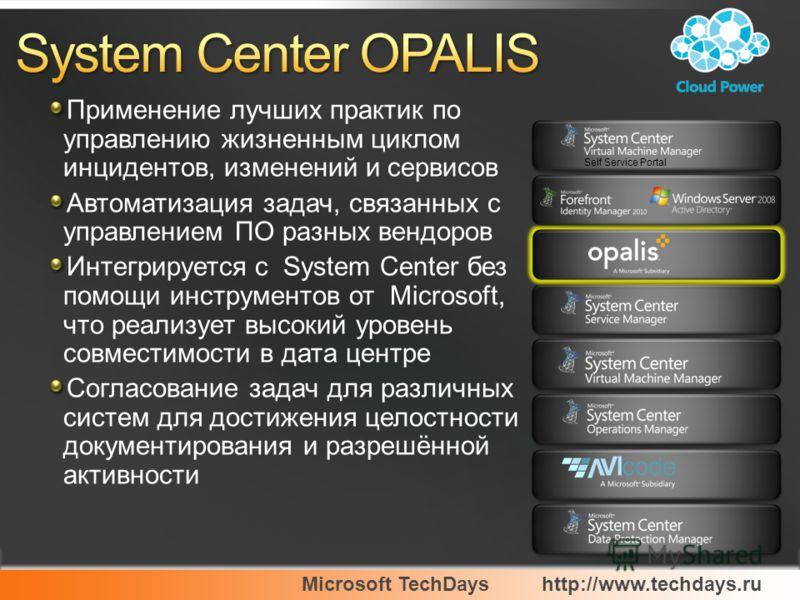 Microsoft TechDayshttp://www.techdays.ru Применение лучших практик по управлению жизненным циклом инцидентов, изменений и сервисов Автоматизация задач, связанных с управлением ПО разных вендоров Интегрируется с System Center без помощи инструментов о