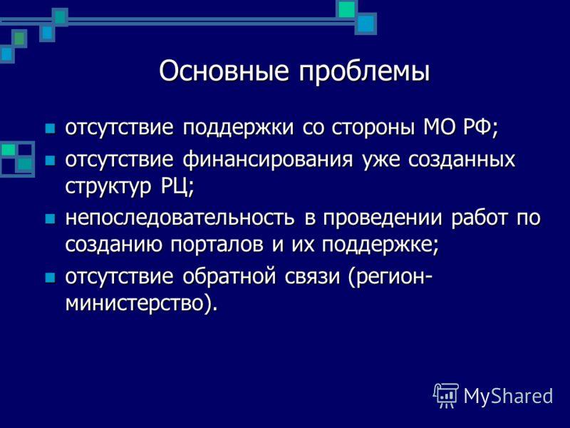 Основные проблемы отсутствие поддержки со стороны МО РФ; отсутствие поддержки со стороны МО РФ; отсутствие финансирования уже созданных структур РЦ; отсутствие финансирования уже созданных структур РЦ; непоследовательность в проведении работ по созда