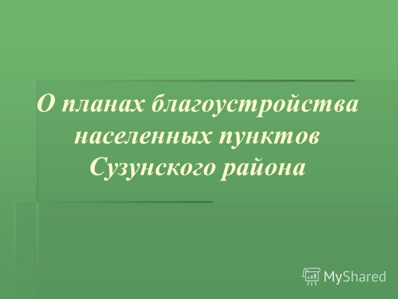 О планах благоустройства населенных пунктов Сузунского района