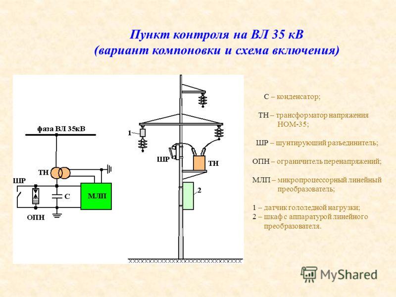 Пункт контроля на ВЛ 35 кВ (вариант компоновки и схема включения) С – конденсатор; ТН – трансформатор напряжения НОМ-35; ШР – шунтирующий разъединитель; ОПН – ограничитель перенапряжений; МЛП – микропроцессорный линейный преобразователь; 1 – датчик г