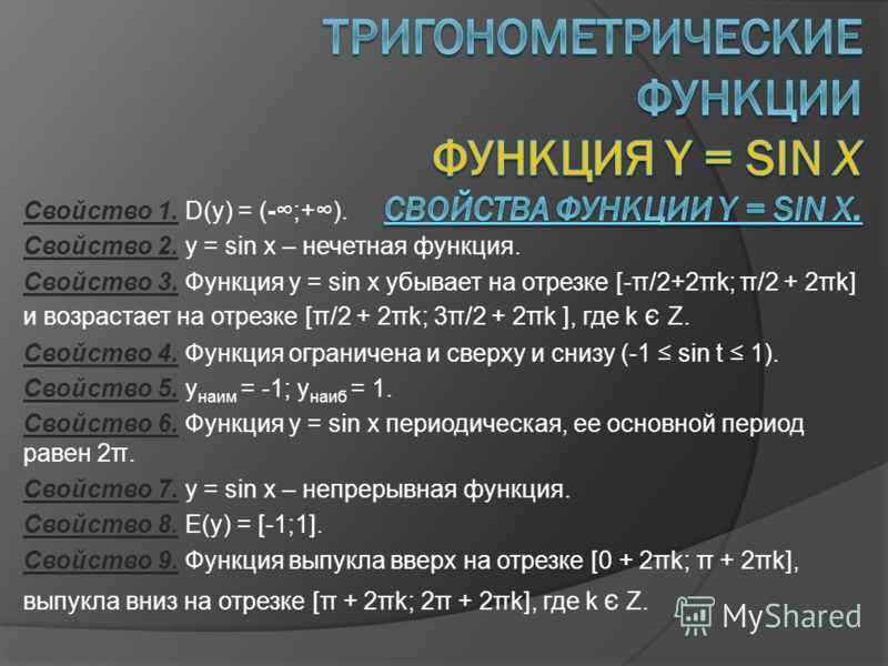 Свойство 1. D(y) = (-;+). Свойство 2. y = sin x – нечетная функция. Свойство 3. Функция y = sin x убывает на отрезке [-π/2+2πk; π/2 + 2πk] и возрастает на отрезке [π/2 + 2πk; 3π/2 + 2πk ], где k є Z. Свойство 4. Функция ограничена и сверху и снизу (-