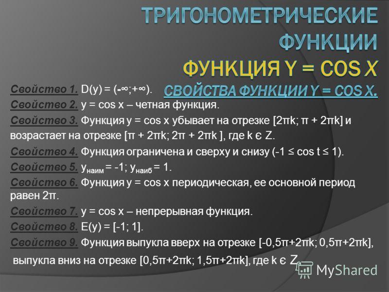 Свойство 1. D(y) = (-;+). Свойство 2. y = cos x – четная функция. Свойство 3. Функция y = cos x убывает на отрезке [2πk; π + 2πk] и возрастает на отрезке [π + 2πk; 2π + 2πk ], где k є Z. Свойство 4. Функция ограничена и сверху и снизу (-1 cos t 1). С