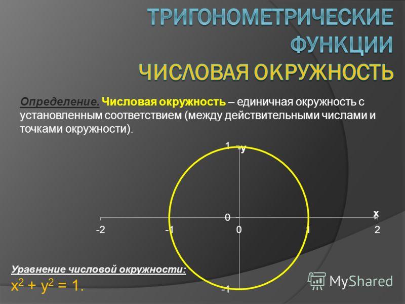 Определение. Числовая окружность – единичная окружность с установленным соответствием (между действительными числами и точками окружности). Уравнение числовой окружности: x 2 + y 2 = 1.