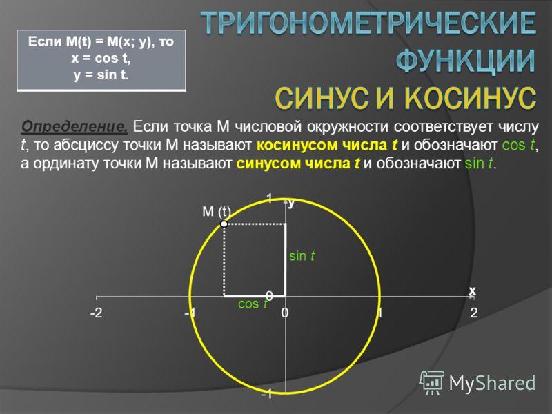 Определение. Если точка М числовой окружности соответствует числу t, то абсциссу точки М называют косинусом числа t и обозначают cos t, а ординату точки М называют синусом числа t и обозначают sin t. Если M(t) = M(x; y), то x = cos t, y = sin t. M (t