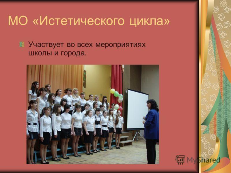 МО «Истетического цикла» Участвует во всех мероприятиях школы и города.