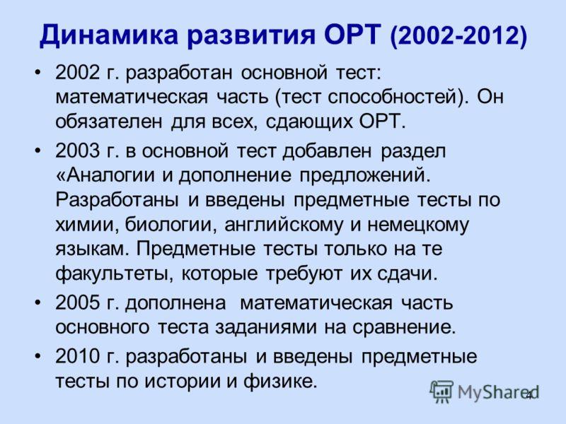 Динамика развития ОРТ (2002-2012) 2002 г. разработан основной тест: математическая часть (тест способностей). Он обязателен для всех, сдающих ОРТ. 2003 г. в основной тест добавлен раздел «Аналогии и дополнение предложений. Разработаны и введены предм