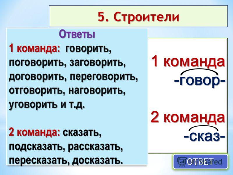 5. Строители 1 команда -говор- 2 команда -сказ- ОТВЕТОТВЕТ Ответы 1 команда: говорить, поговорить, заговорить, договорить, переговорить, отговорить, наговорить, уговорить и т.д. 2 команда: сказать, подсказать, рассказать, пересказать, досказать.