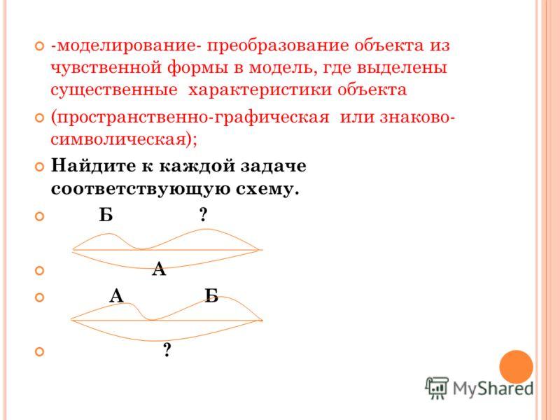-моделирование- преобразование объекта из чувственной формы в модель, где выделены существенные характеристики объекта (пространственно-графическая или знаково- символическая); Найдите к каждой задаче соответствующую схему. Б ? А А Б ?