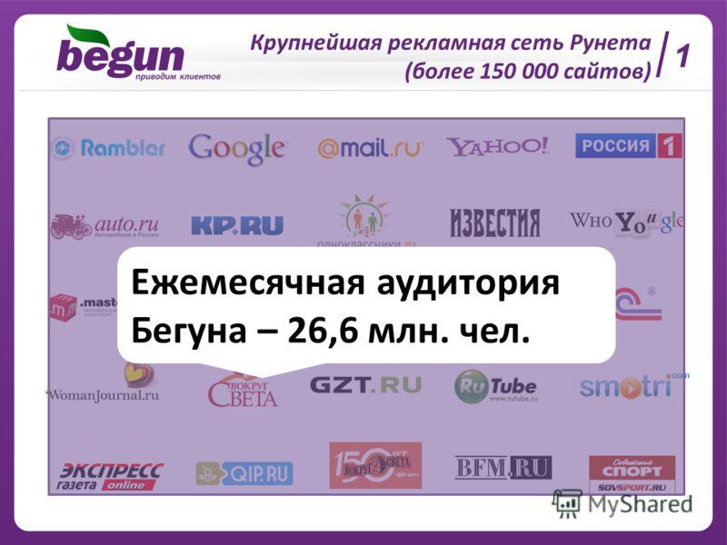 Крупнейшая рекламная сеть Рунета (более 150 000 сайтов) Ежемесячная аудитория Бегуна – 26,6 млн. чел. 1