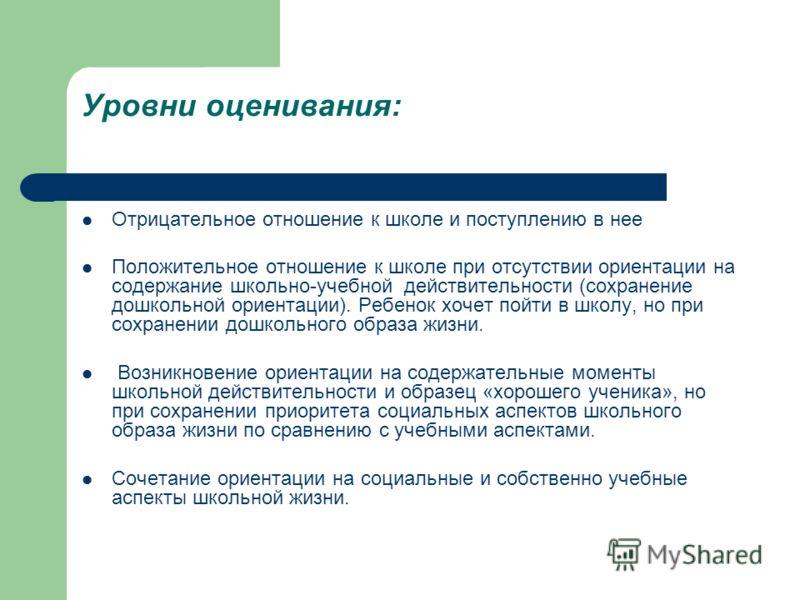 Уровни оценивания: Отрицательное отношение к школе и поступлению в нее Положительное отношение к школе при отсутствии ориентации на содержание школьно-учебной действительности (сохранение дошкольной ориентации). Ребенок хочет пойти в школу, но при со