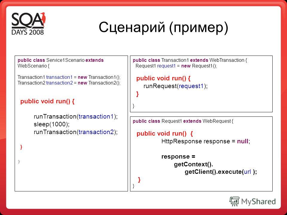 Сценарий (пример) public class Service1Scenario extends WebScenario { Transaction1 transaction1 = new Transaction1(); Transaction2 transaction2 = new Transaction2(); public void run() { runTransaction(transaction1); sleep(1000); runTransaction(transa