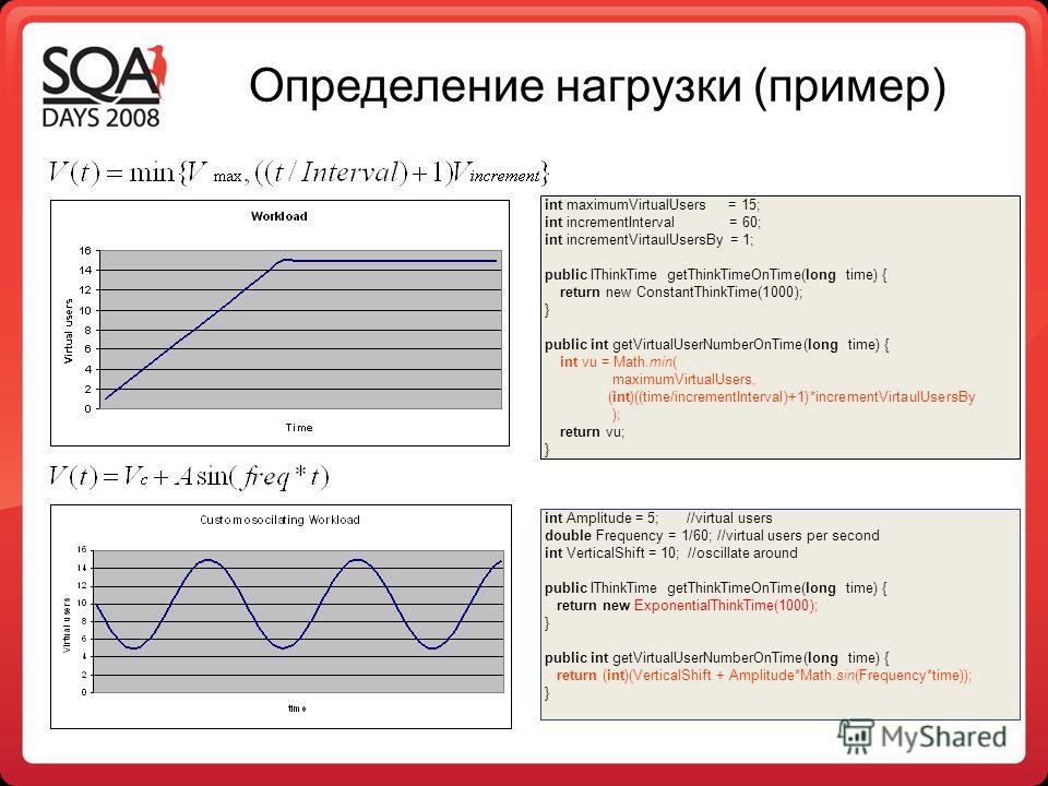 Определение нагрузки (пример) int maximumVirtualUsers = 15; int incrementInterval = 60; int incrementVirtaulUsersBy = 1; public IThinkTime getThinkTimeOnTime(long time) { return new ConstantThinkTime(1000); } public int getVirtualUserNumberOnTime(lon