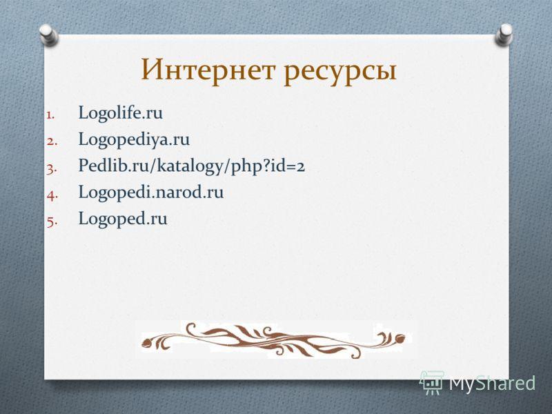 Интернет ресурсы 1. Logolife.ru 2. Logopediya.ru 3. Pedlib.ru/katalogy/php?id=2 4. Logopedi.narod.ru 5. Logoped.ru
