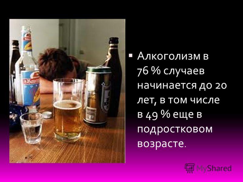 Алкоголизм в 76 % случаев начинается до 20 лет, в том числе в 49 % еще в подростковом возрасте.