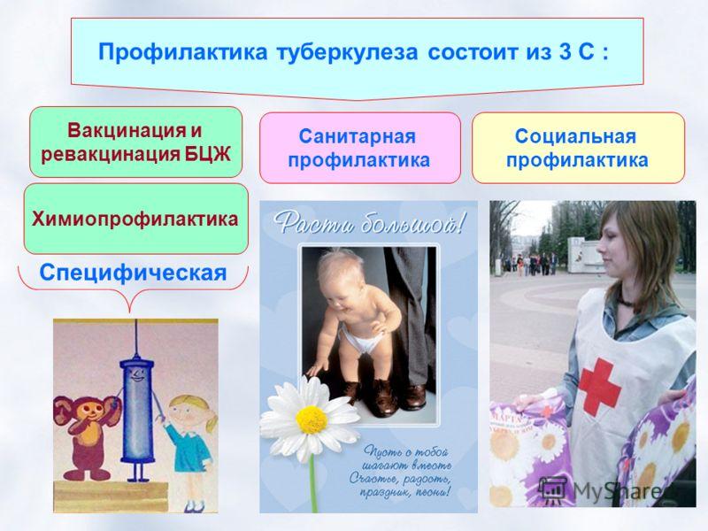 Профилактика туберкулеза состоит из 3 С : Химиопрофилактика Вакцинация и ревакцинация БЦЖ Санитарная профилактика Специфическая Социальная профилактика