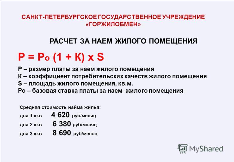 РАСЧЕТ ЗА НАЕМ ЖИЛОГО ПОМЕЩЕНИЯ Средняя стоимость найма жилья: для 1 ккв 4 620 руб/месяц для 2 ккв 6 380 руб/месяц для 3 ккв 8 690 руб/месяц САНКТ-ПЕТЕРБУРГСКОЕ ГОСУДАРСТВЕННОЕ УЧРЕЖДЕНИЕ «ГОРЖИЛОБМЕН» Р = Р о (1 + К) x S Р – размер платы за наем жил