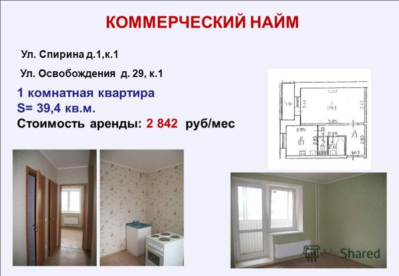 1 комнатная квартира S= 39,4 кв.м. Стоимость аренды: 2 842 руб/мес Ул. Спирина д.1,к.1 Ул. Освобождения д. 29, к.1 КОММЕРЧЕСКИЙ НАЙМ