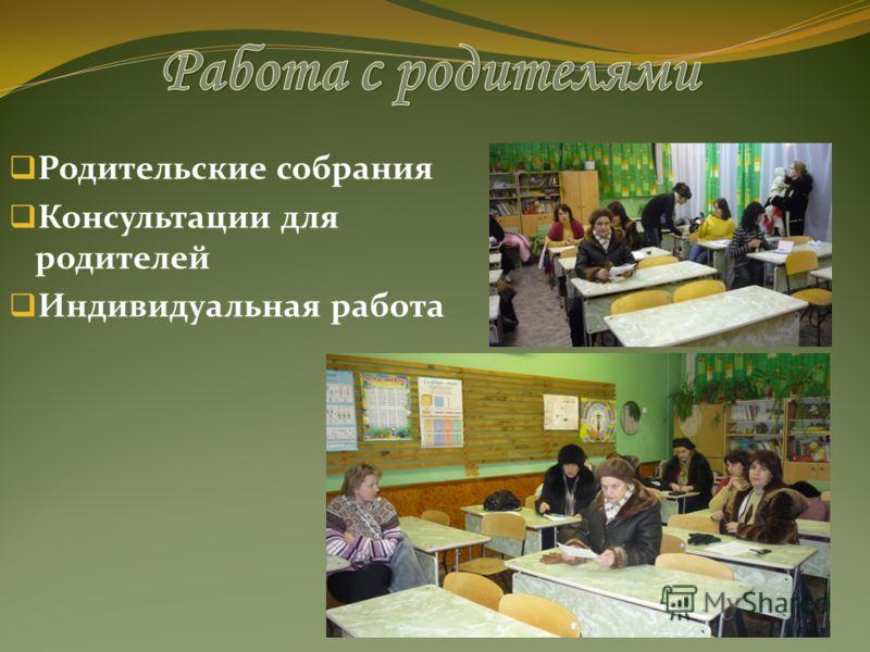 Родительские собрания Консультации для родителей Индивидуальная работа