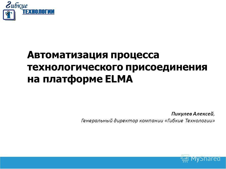 Автоматизация процесса технологического присоединения на платформе ELMA Пикулев Алексей, Генеральный директор компании «Гибкие Технологии»