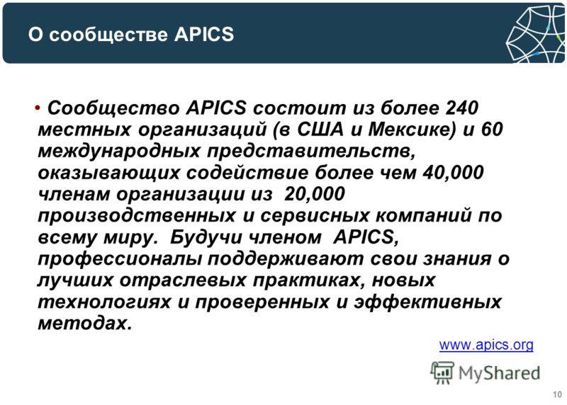 10 Сообщество APICS состоит из более 240 местных организаций (в США и Мексике) и 60 международных представительств, оказывающих содействие более чем 40,000 членам организации из 20,000 производственных и сервисных компаний по всему миру. Будучи члено