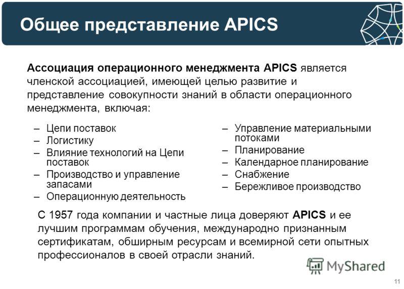 11 –Цепи поставок –Логистику –Влияние технологий на Цепи поставок –Производство и управление запасами –Операционную деятельность Ассоциация операционного менеджмента APICS является членской ассоциацией, имеющей целью развитие и представление совокупн