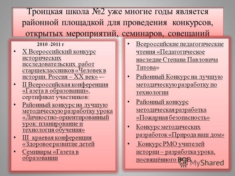 Троицкая школа 2 уже многие годы является районной площадкой для проведения конкурсов, открытых мероприятий, семинаров, совещаний 2010 -2011 г X Всероссийский конкурс исторических исследовательских работ старшеклассников «Человек в истории. Россия –
