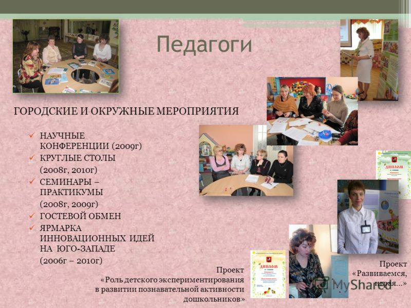 Педагоги НАУЧНЫЕ КОНФЕРЕНЦИИ (2009г) КРУГЛЫЕ СТОЛЫ (2008г, 2010г) СЕМИНАРЫ – ПРАКТИКУМЫ (2008г, 2009г) ГОСТЕВОЙ ОБМЕН ЯРМАРКА ИННОВАЦИОННЫХ ИДЕЙ НА ЮГО-ЗАПАДЕ (2006г – 2010г) Проект «Развиваемся, играя…» Проект «Роль детского экспериментирования в ра