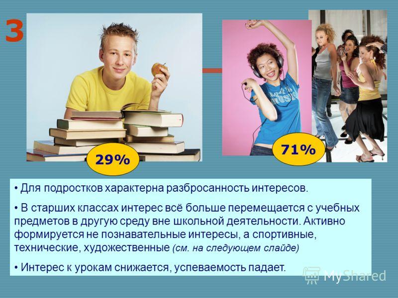 3 Для подростков характерна разбросанность интересов. В старших классах интерес всё больше перемещается с учебных предметов в другую среду вне школьной деятельности. Активно формируется не познавательные интересы, а спортивные, технические, художеств